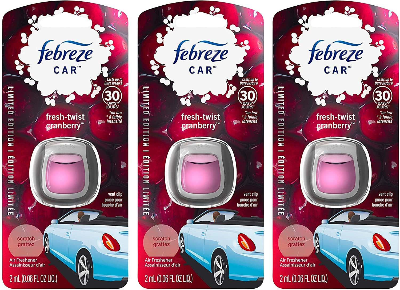 Febreze Car Vent Clip Air Freshener - Fresh-Twist Cranberry - Holiday Collection 2017 - Net Wt. 0.06 FL OZ (2 mL) Per Vent Clip - Pack of 3 Vent Clips