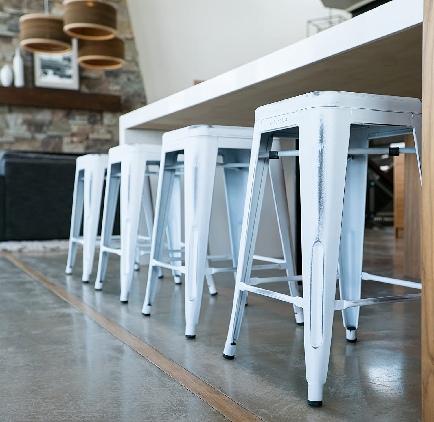 "Amazon.com: UrbanMod 24"" Stool Set of 4 by Distressed White Rustic ..."