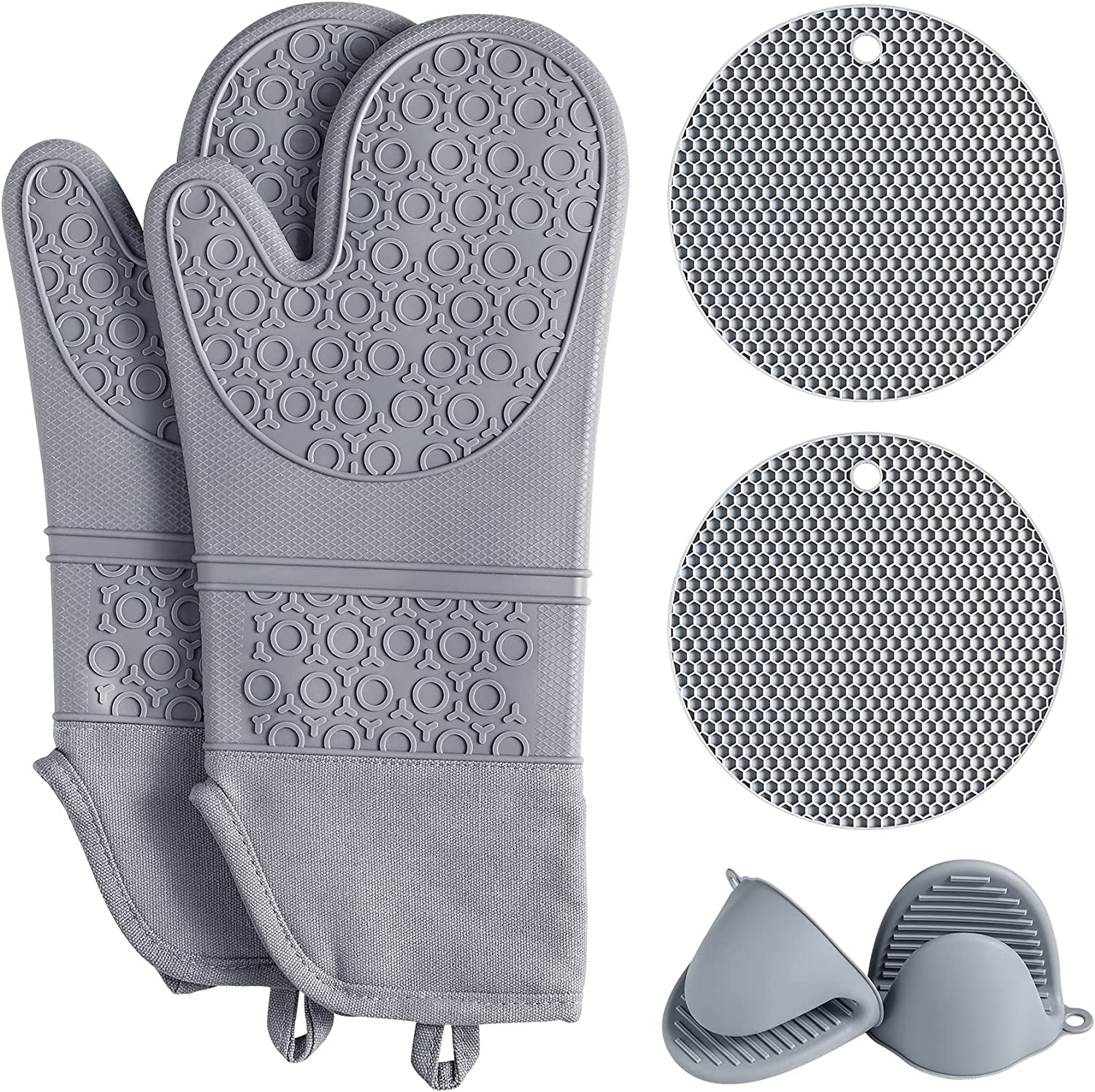 QUWIN Oven Mitts Set, Heat Resistant with Mini Oven Gloves and Hot Pads Potholders, Non-Slip Food Grade Long Oven Mitts for Kitchen Baking Cooking (6-Piece Set, Grey)