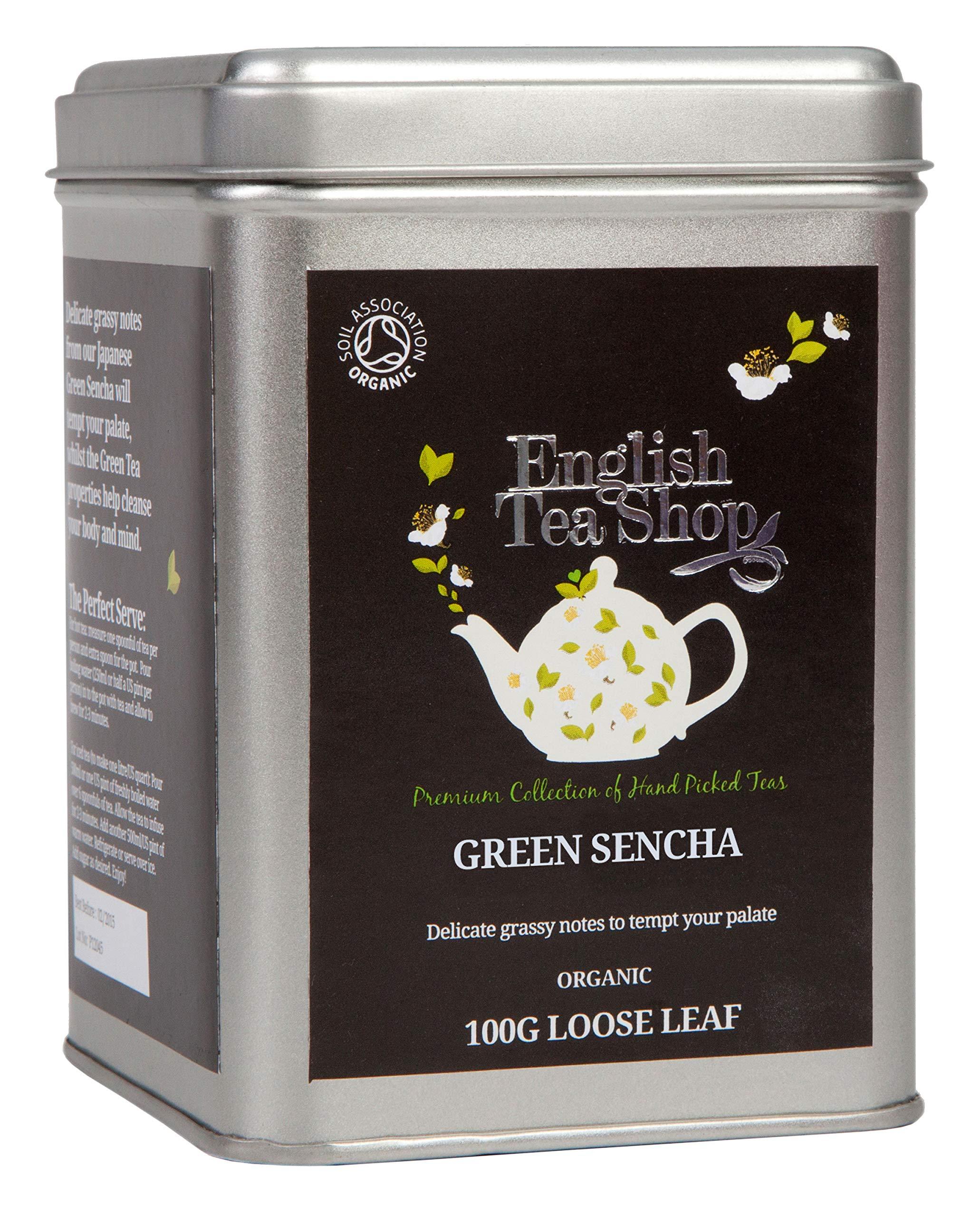 English Tea Shop Organic Green Sencha - 100g Loose leaf tea in a Tin