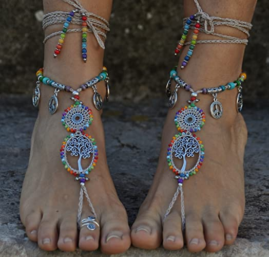 050c7b7d160c4 Amazon.com: Rainbow and Beige Barefoot Sandals Tree of Life,Hippie ...