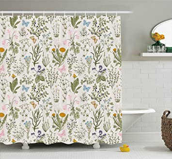 Floral Shower Curtain Vintage Garden Plants With Herbs Flowers Botanical Classic Design Bathroom Decor
