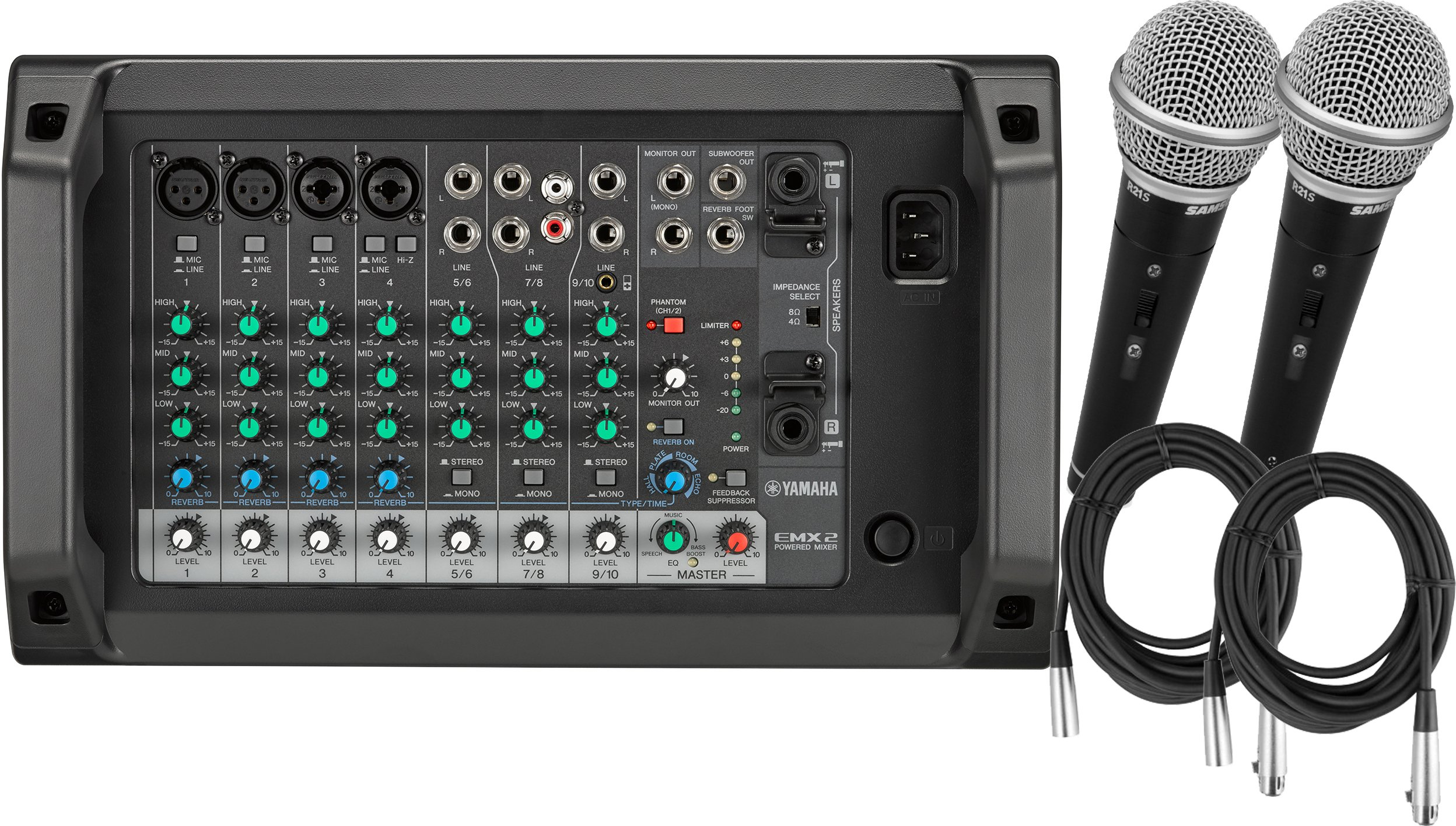Yamaha EMX2 10 Channel 2x250W Powered Mixer w/ 2 Mics and Cables