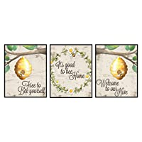Silly Goose Gifts Home is Where Your Honey is - Art Print Watercolor Design Wall Room Home Bathroom Decor Set - Bee A Nice Human (Welcome to Our Hive)