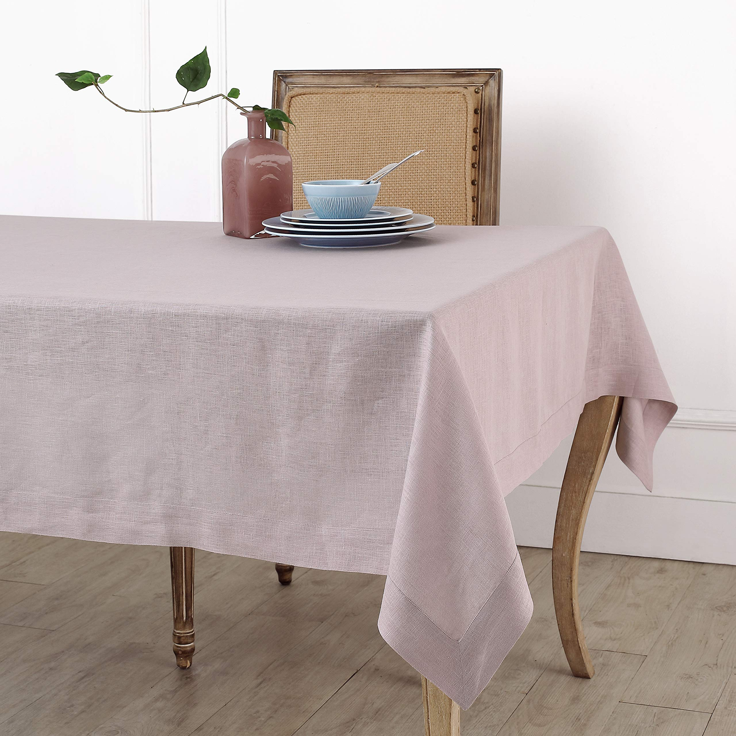 Solino Home 100% Linen Tablecloth - 60 x 120 Inch Lilac, Natural Fabric, European Flax - Athena Rectangular Tablecloth for Indoor and Outdoor use