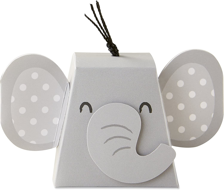 Kate Aspen Adorable Elephant Favor Box (Set of 12), One Size, Grey & Black
