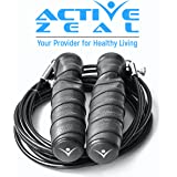 Active Zeal Fitness Jump Rope with Bag by Ergonomic, Premium, Easy to Adjust   Speed RX Jump Rope for Men, Women, Girls and Children   Skipping Rope for Exercise, Workout, Crossfit