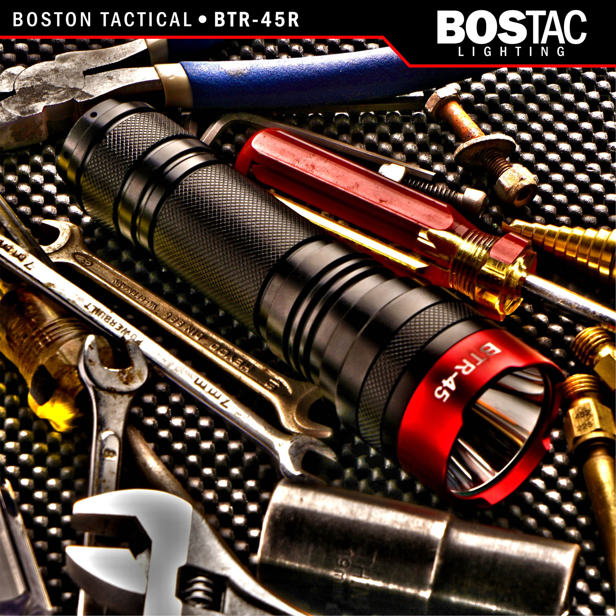 BOSTAC™ BTR-45R Rechargeable Tactical Flashlight - Hand Held Professional Flashlight by Boston Tactical with High Intensity CREE XML2 U2 USA LED Bulb, 1,100 Lumens, Sealed Against Solvents by Bostac (Image #2)