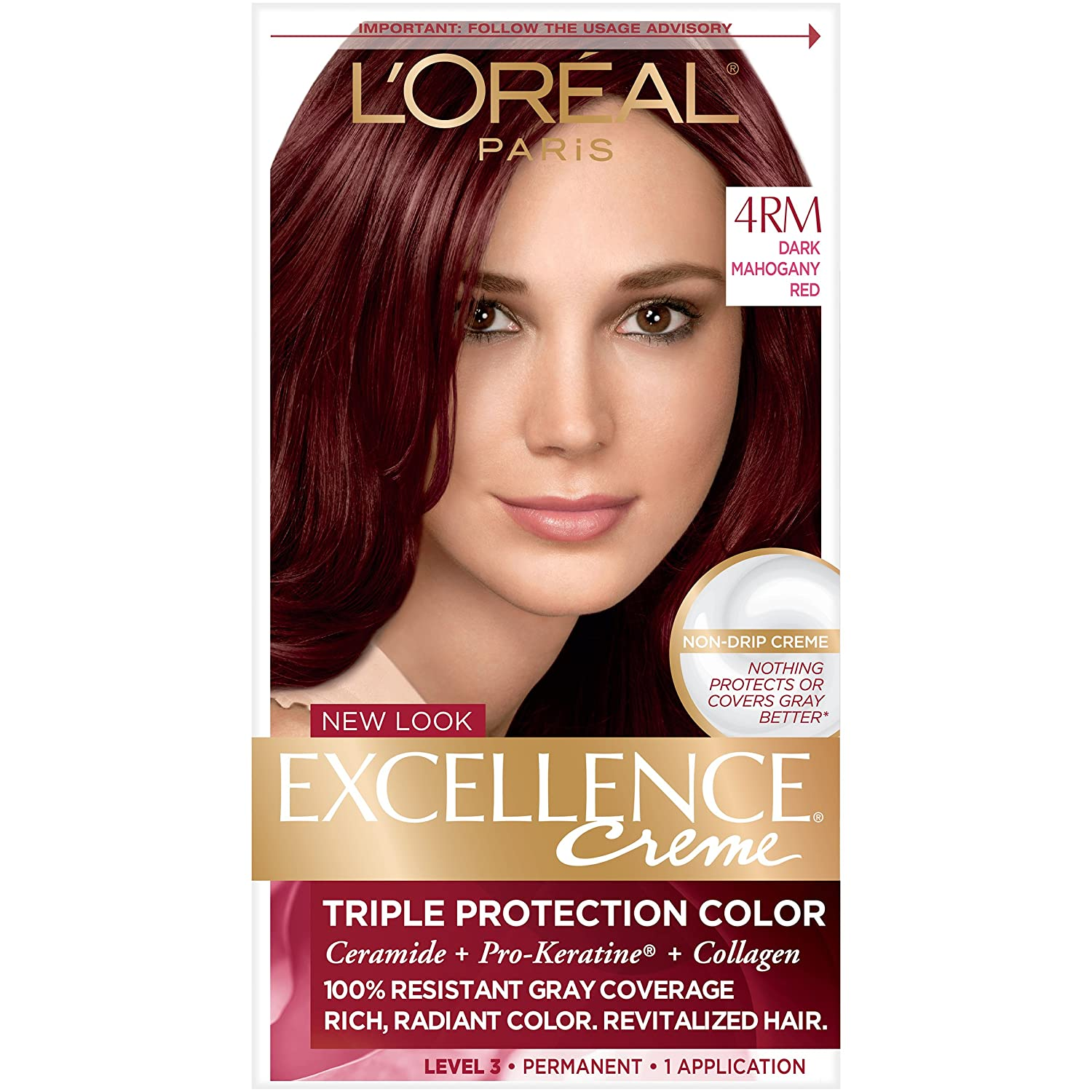 L'Oreal Paris Excellence Creme Permanent Hair Color, 4RM Dark Mahogany Red, 100% Gray Coverage Hair Dye, Pack of 1