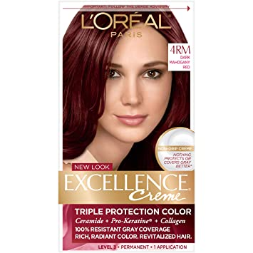 Amazon.com : L'Oreal Paris Excellence Creme, 4RM Dark Mahogany Red ...