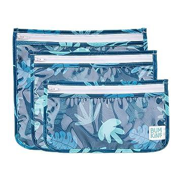 Bumkins TSA Approved Toiletry Bag, Travel Bag, Quart Zip Pouch, PVC-Free, Vinyl-Free, Clear Sided, Set of 3 – Blue Tropics, 5