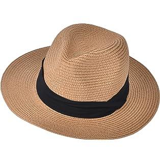 4d69315fd7e Urban CoCo Women s Packable Panama Sun Hat Summer Wide Brim Straw Beach Cap
