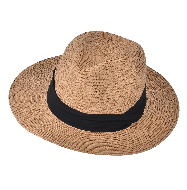 Urban CoCo Women's Packable Panama Sun Hat Summer Wide Brim Straw Beach Cap Bingo E-Commerce YH-BNM01-2IV