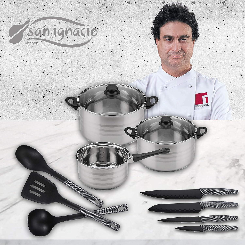 San Ignacio Premium Set de Bateria 5 Piezas + 4 Cuchillos 3 Cocina, 5 pcs + utensilios