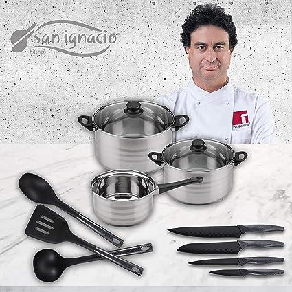 San Ignacio Premium Set de Bateria 5 Piezas + 4 Cuchillos 3 Utensilios de Cocina, 5 pcs