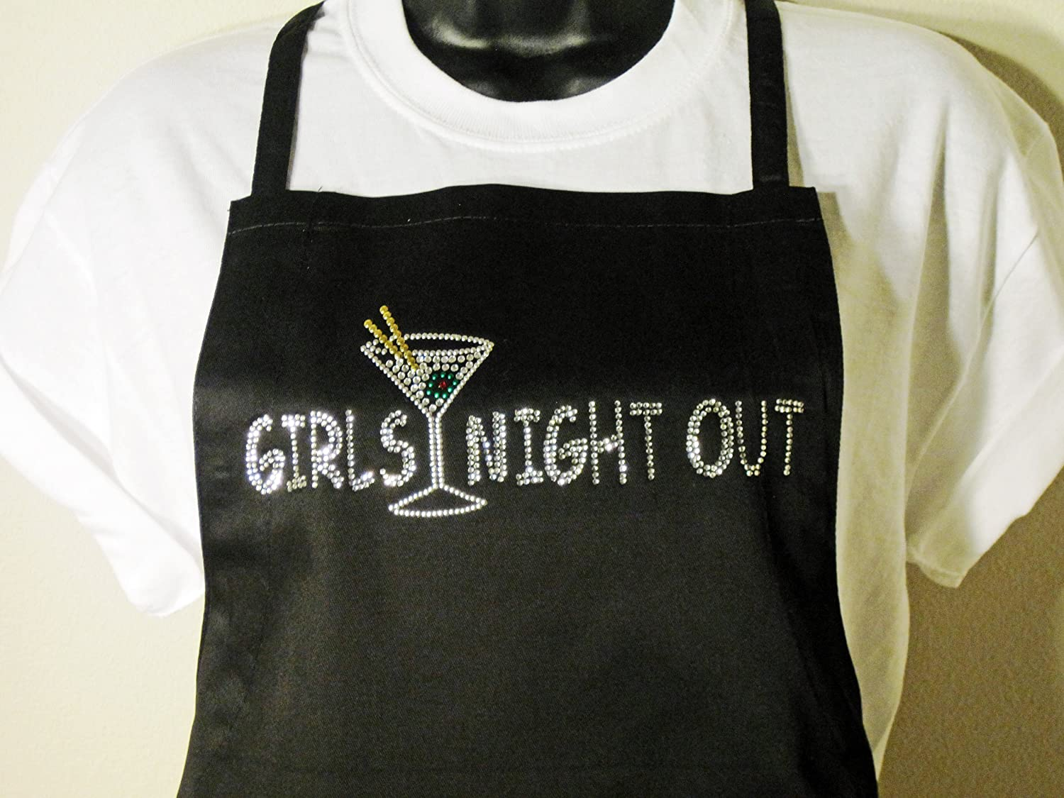 Amazon Com Girls Night Out Classic Black Apron Rhinestone Poly Blend Two Pocket Apron Home Improvement