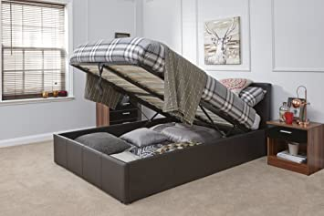 84a6eeecc13c Caspian Ottoman Gas Lift Up Storage Bed - Brown 4ft6 Double: Amazon ...