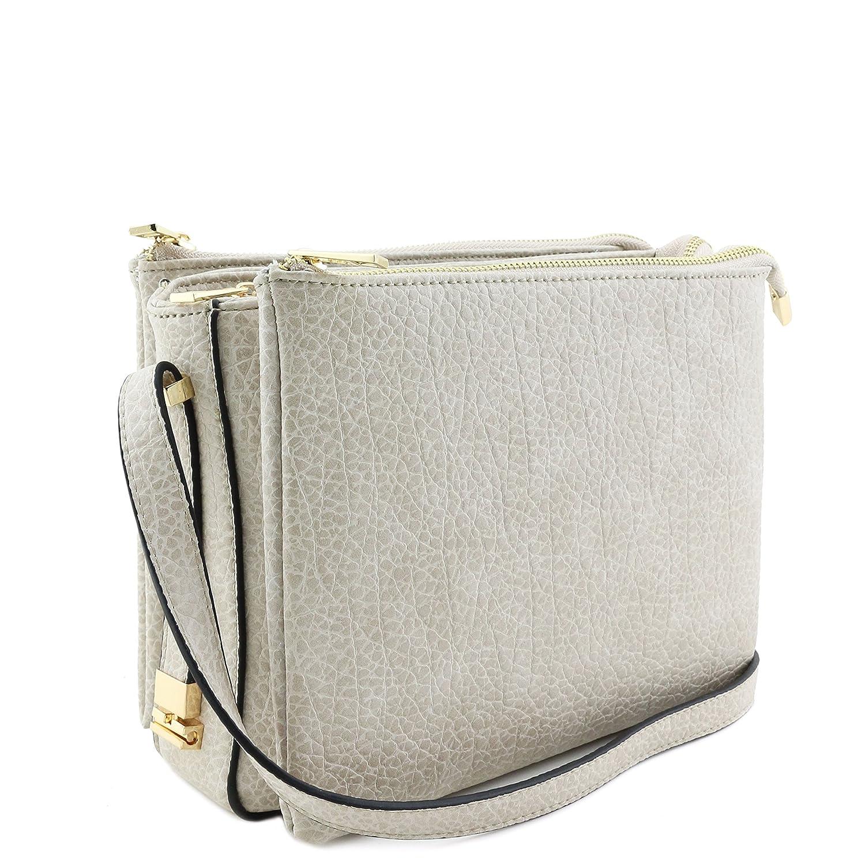 8d244c605e Three Compartment Zipper Top Crossbody Bag Beige  Handbags  Amazon.com