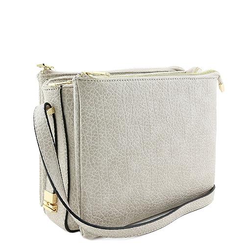 8245e78d0162 Three Compartment Zipper Top Crossbody Bag Beige  Handbags  Amazon.com