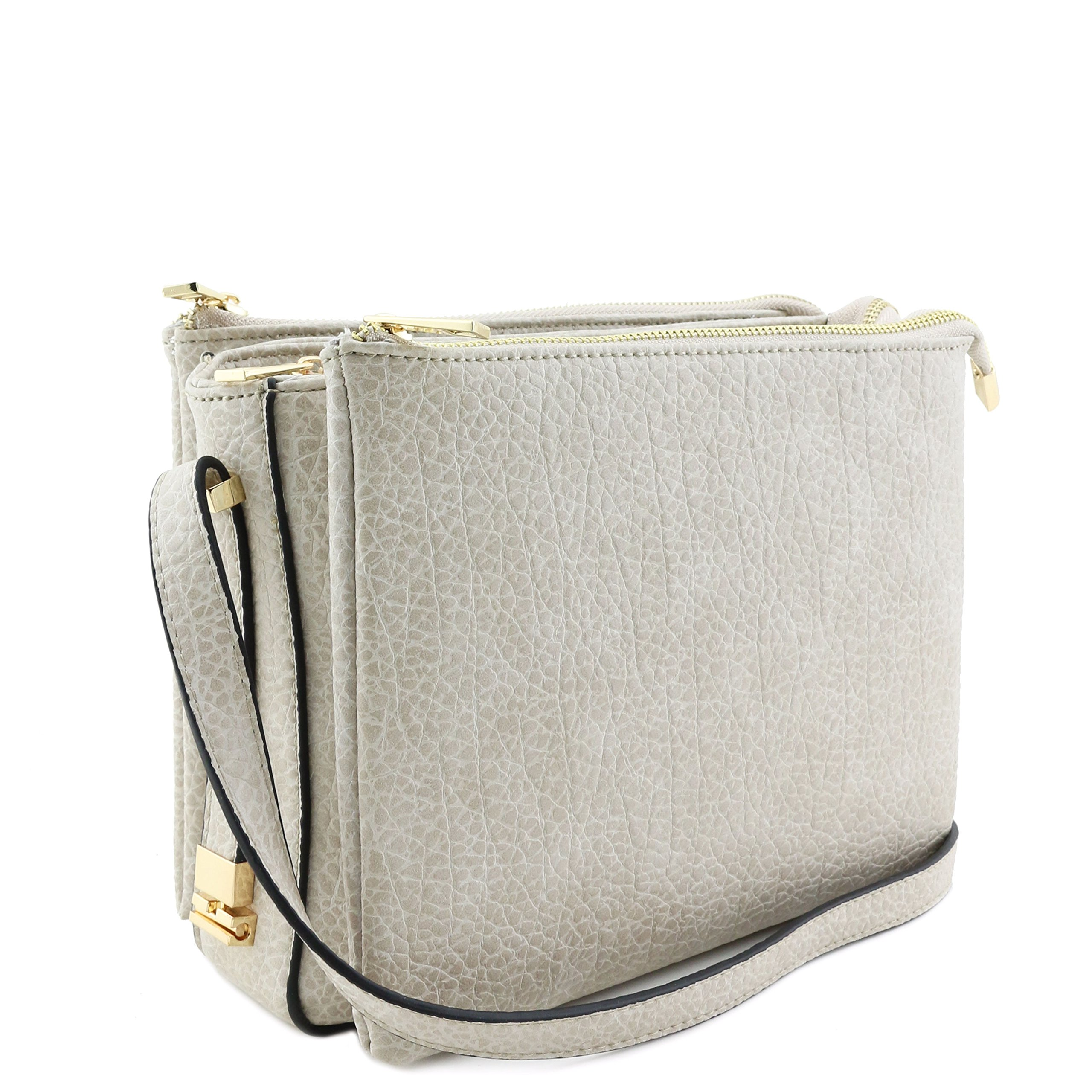 Three Compartment Zipper Top Crossbody Bag Beige