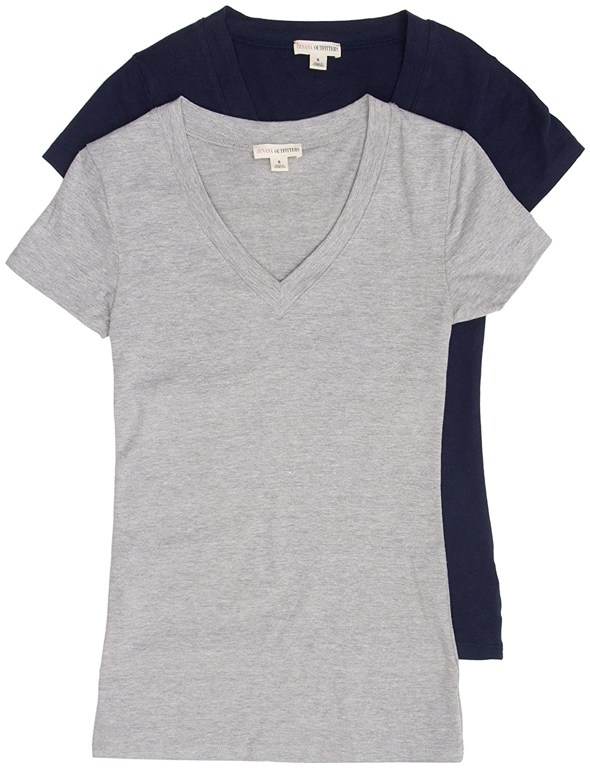 a3c5ad7d1b14b 2 Pack Zenana Women s Basic V-Neck T-Shirts Small Navy