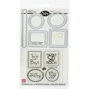 Sizzix Framelits Juego de 9 troqueles con sellos - Etiquetas con palabras por Stephanie Barnard
