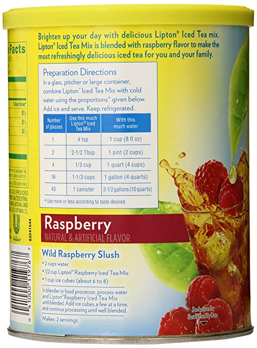 Amazon.com : Lipton Iced Tea Mix, Raspberry 10 qt (Pack of 6 ...