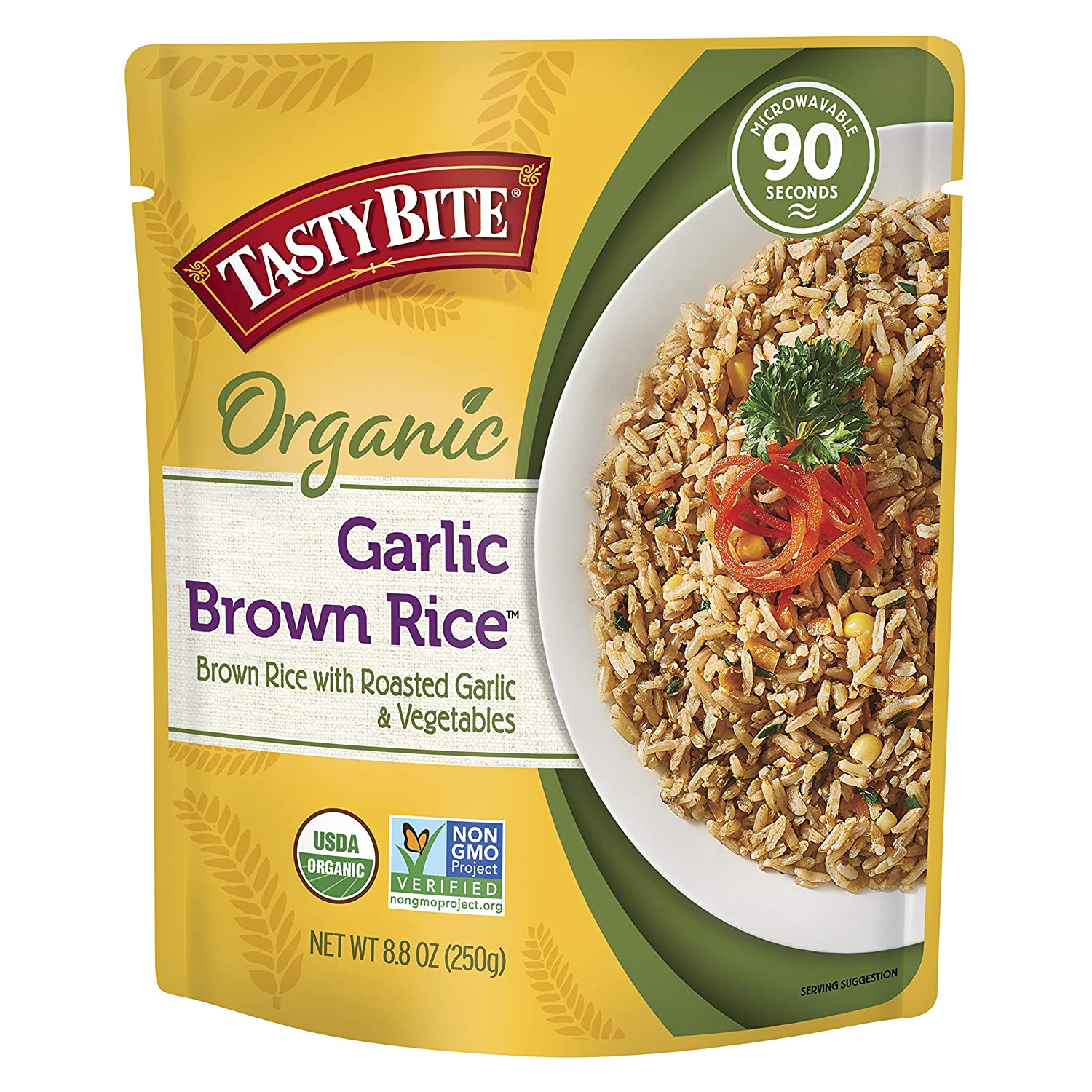 Tasty Bite Brown Rice Garlic, Microwaveable Cooked Rice, 8.8 Ounce (Pack of 6)
