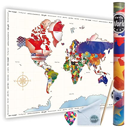 Amazon scratch off world travel map poster by wng brands large scratch off world travel map poster by wng brands large size colorful travel map poster detailed gumiabroncs Images