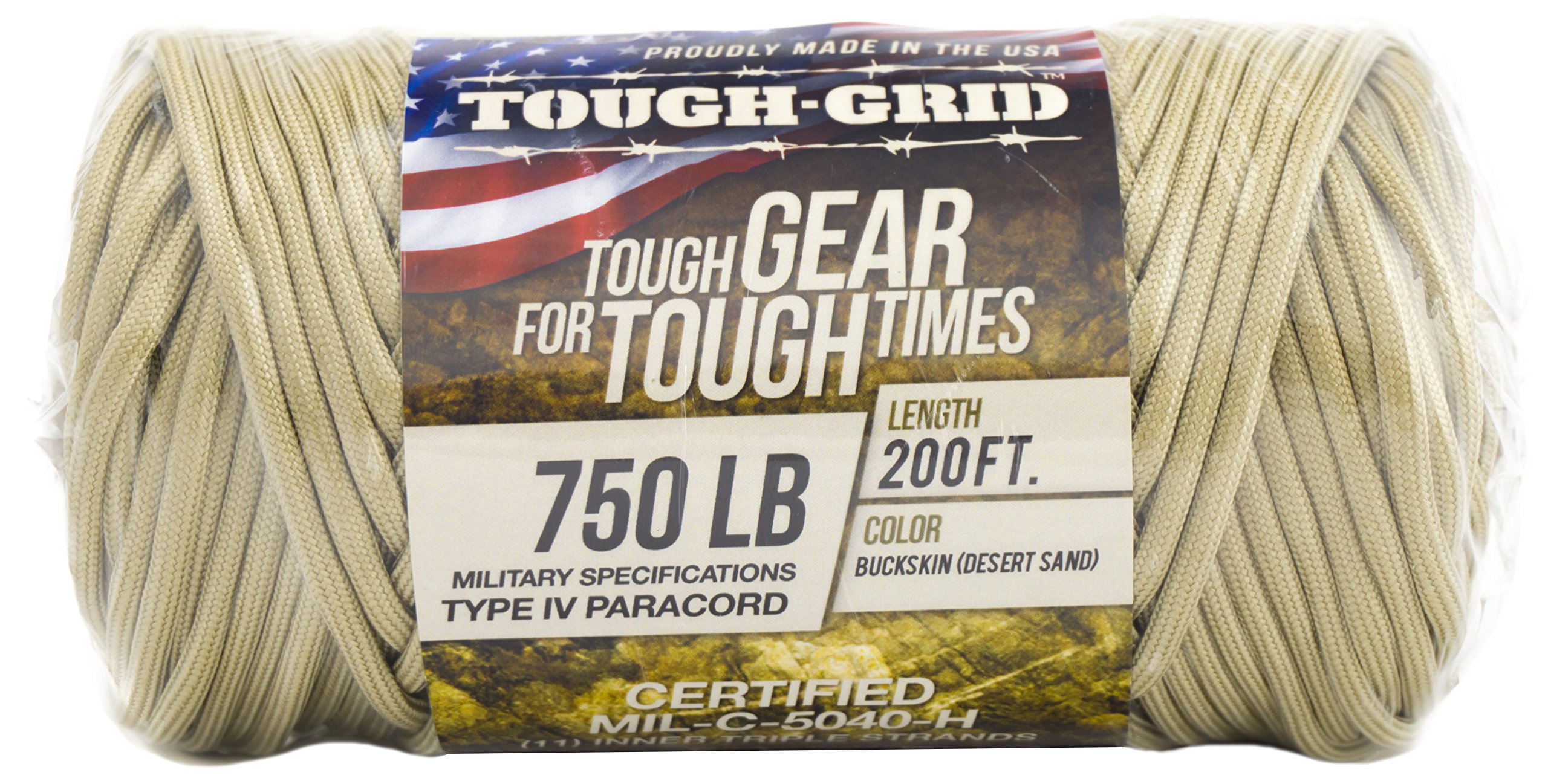 TOUGH-GRID 750lb Buckskin (Desert Sand) Paracord/Parachute Cord - Genuine Mil Spec Type IV 750lb Paracord Used by The US Military (MIl-C-5040-H) - 100% Nylon - Made in The USA. 200Ft. - Buckskin by TOUGH-GRID (Image #9)