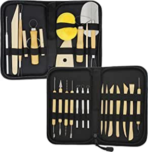 Meuxan 33PCS Clay /& Pottery Sculpting Tool Kit with Canvas Storage Case