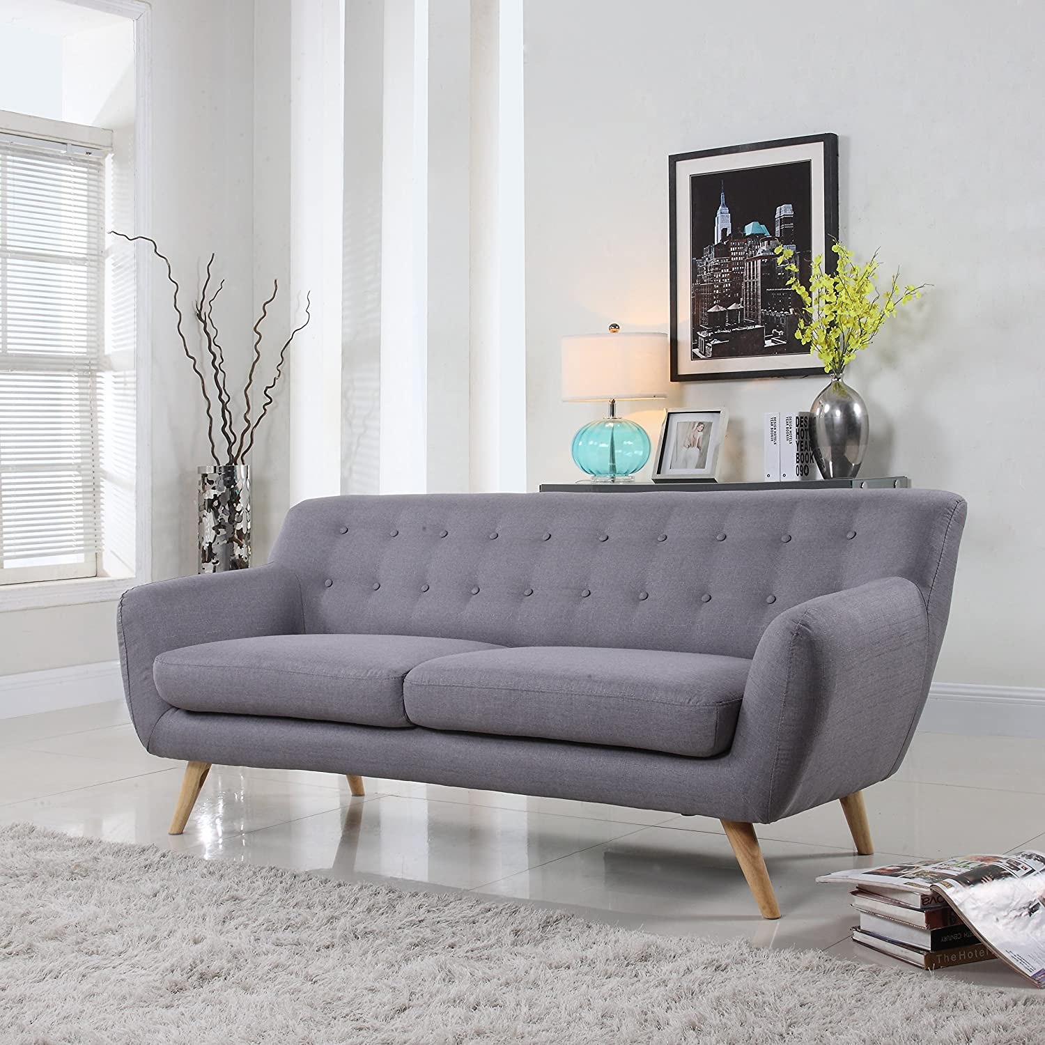 Mid-Century Modern Linen Fabric Sofa, Loveseat in Colors Light Grey