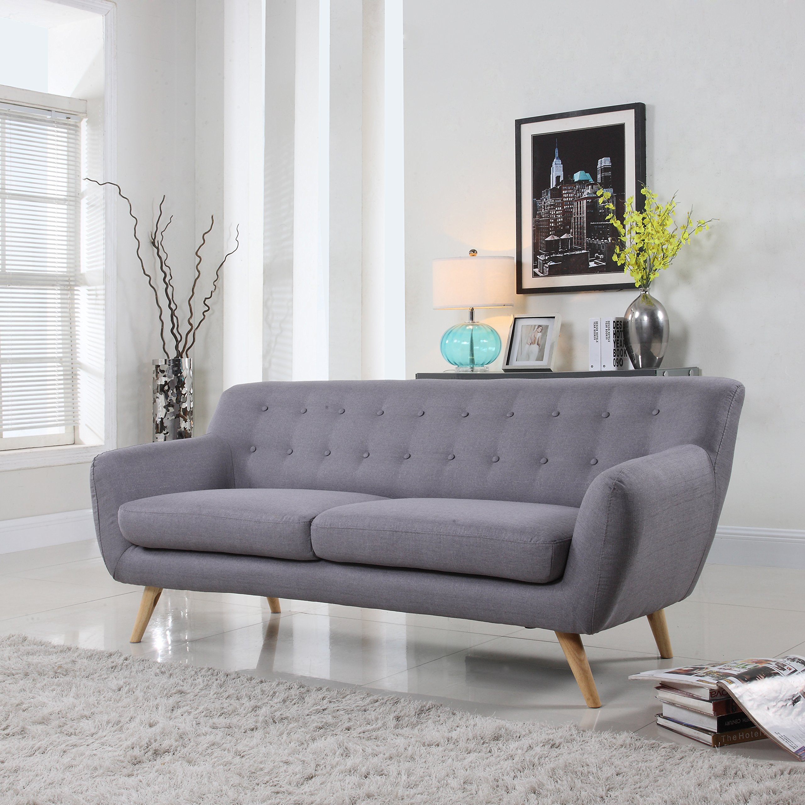 Modern Gray And White Bedroom: Mid-Century Modern Linen Fabric Sofa, Loveseat In Colors