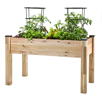 "CedarCraft Elevated Cedar Planter (23"" X 49"" X 30"") - Grow Fresh Vegetables, Herb Gardens, Flowers & Succulents. Beautiful Raised Garden Bed for a Deck,..."