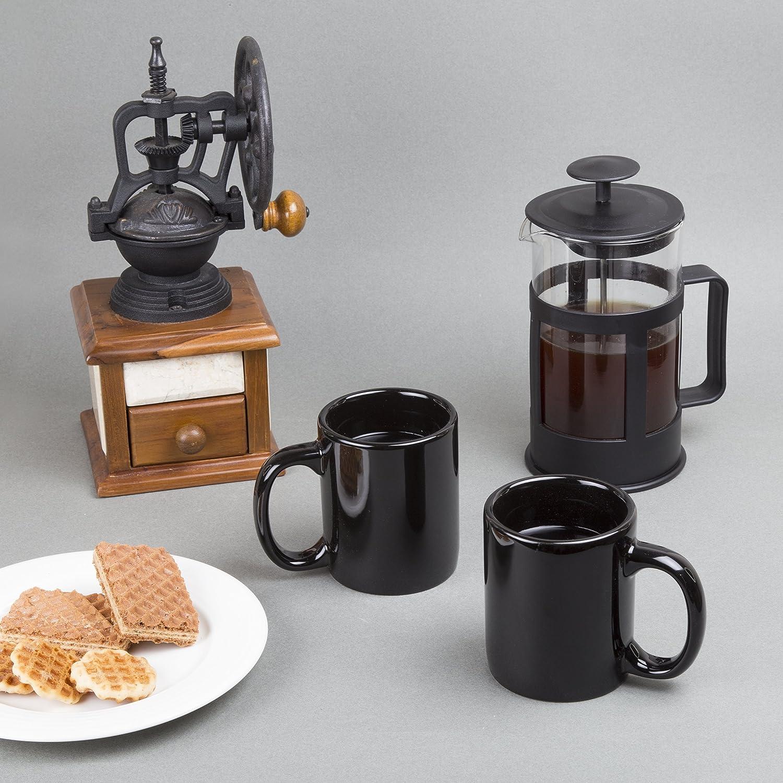 Jarra de cerámica para café, taza para té, juego de 6. Color Negro