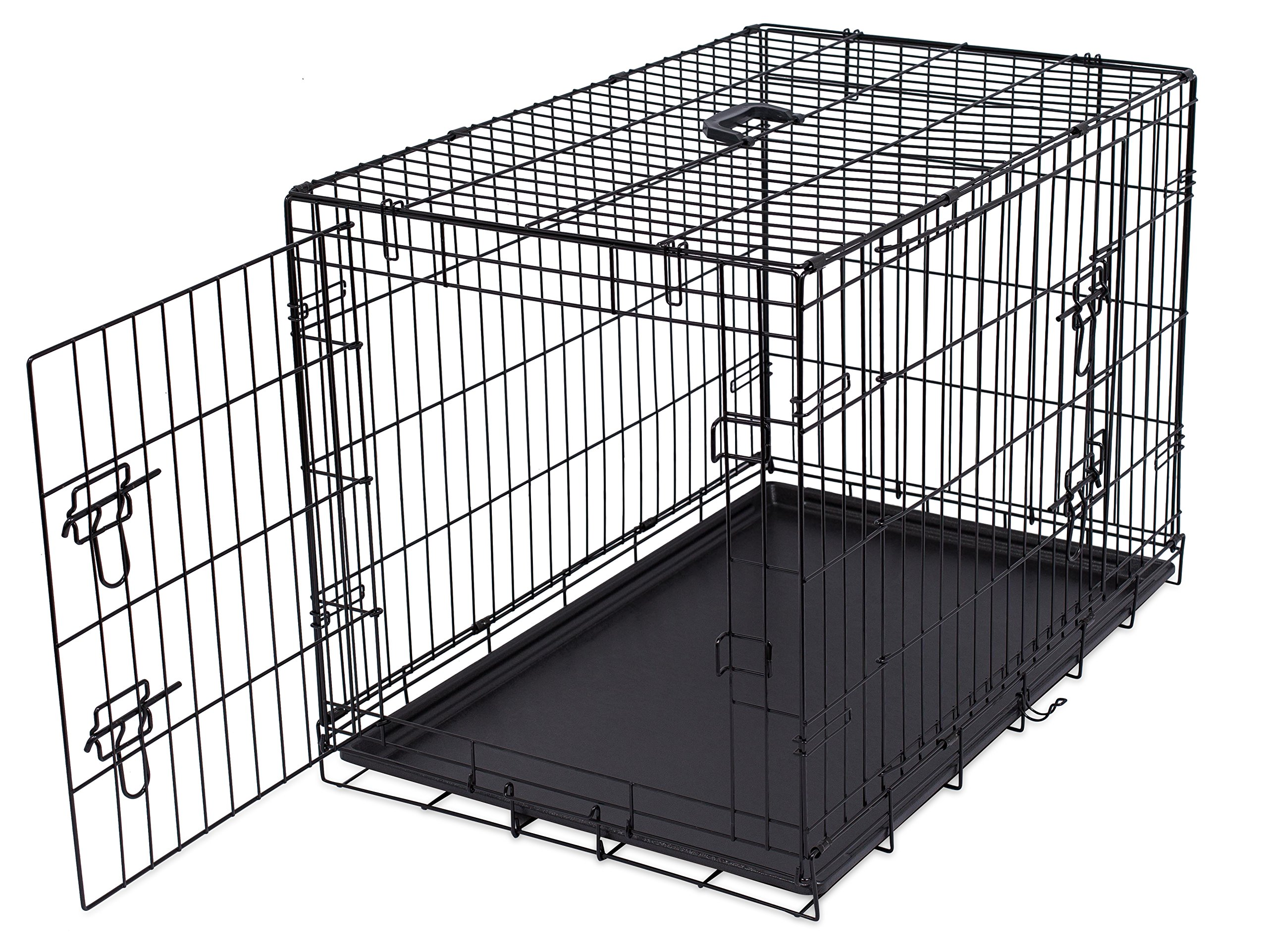 Internet's Best Double Door Steel Crates Collapsible and Foldable Wire Dog Kennel, 36 Inch (Medium), Black