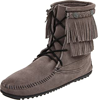 Doublefringesidezipboot, Mocassins (Loafers) Femme, Marron (White/Light Grey), 41 EUMinnetonka