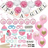 Baby Shower Decorations for Girl - Includes matching 'Its A Girl' Banner & Balloons, Cute Photo Booth Props, Pink & White Flower Decor, AND MORE! Perfect All In One Decoration Bundle