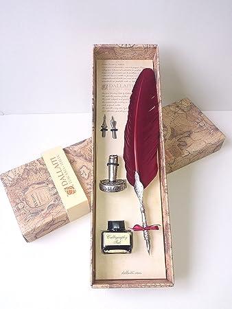 Kalligraphie - Geschenk - Set Mit Echter Gänsefeder In Bordeaux ...