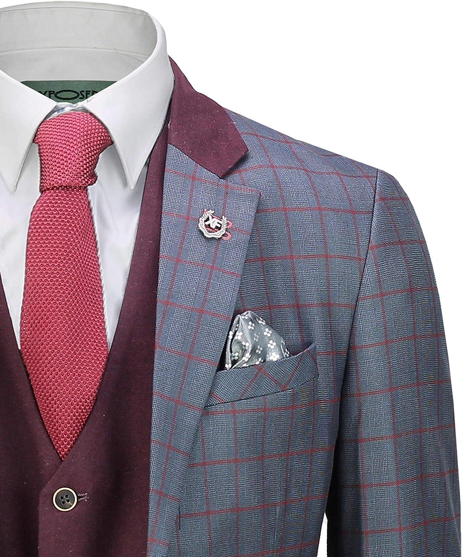 Xposed Herren 3 St/ück Sky Blau Windowpane Karierte Anzug mit Retro Zweireihige Weste Ma/ßgeschneidert
