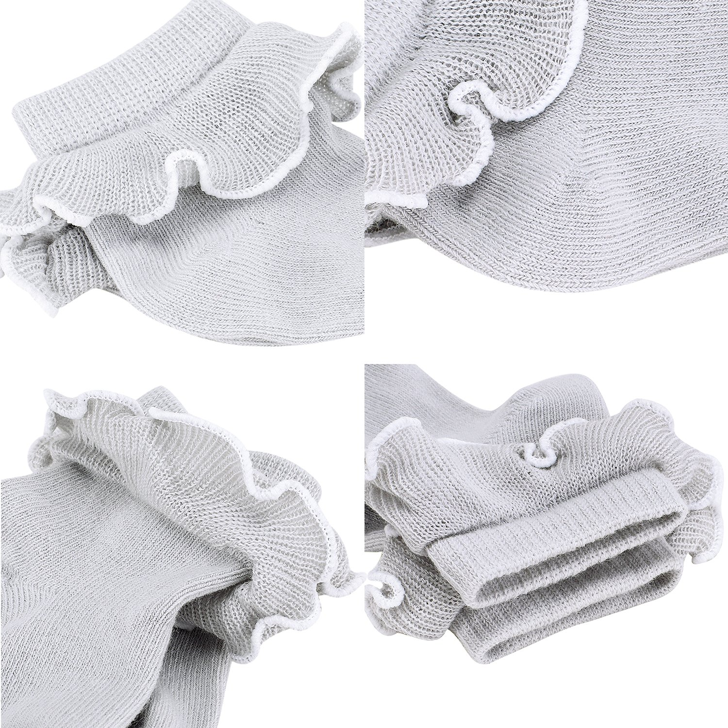 Reeple Baby-Girls Cotton Frilly Lace Ruffles Socks Newborn/Infant/Toddler 4 Pack