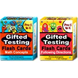Gifted Testing Flash Cards (2-Pack) – Math and Following Directions for Pre-K - Kindergarten – Gifted and Talented Educational Toy Practice for CogAT, OLSAT, Iowa, SCAT, WISC, ERB, WPPSI and more