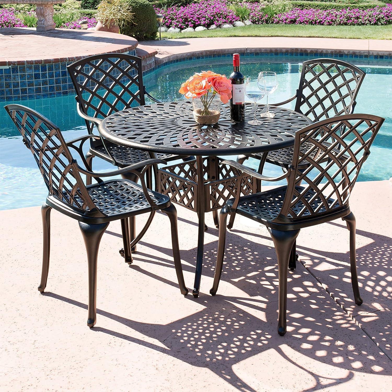 Amazon com best choice products 5 piece cast aluminum patio dining set w 4 chairs umbrella hole lattice weave design brown garden outdoor