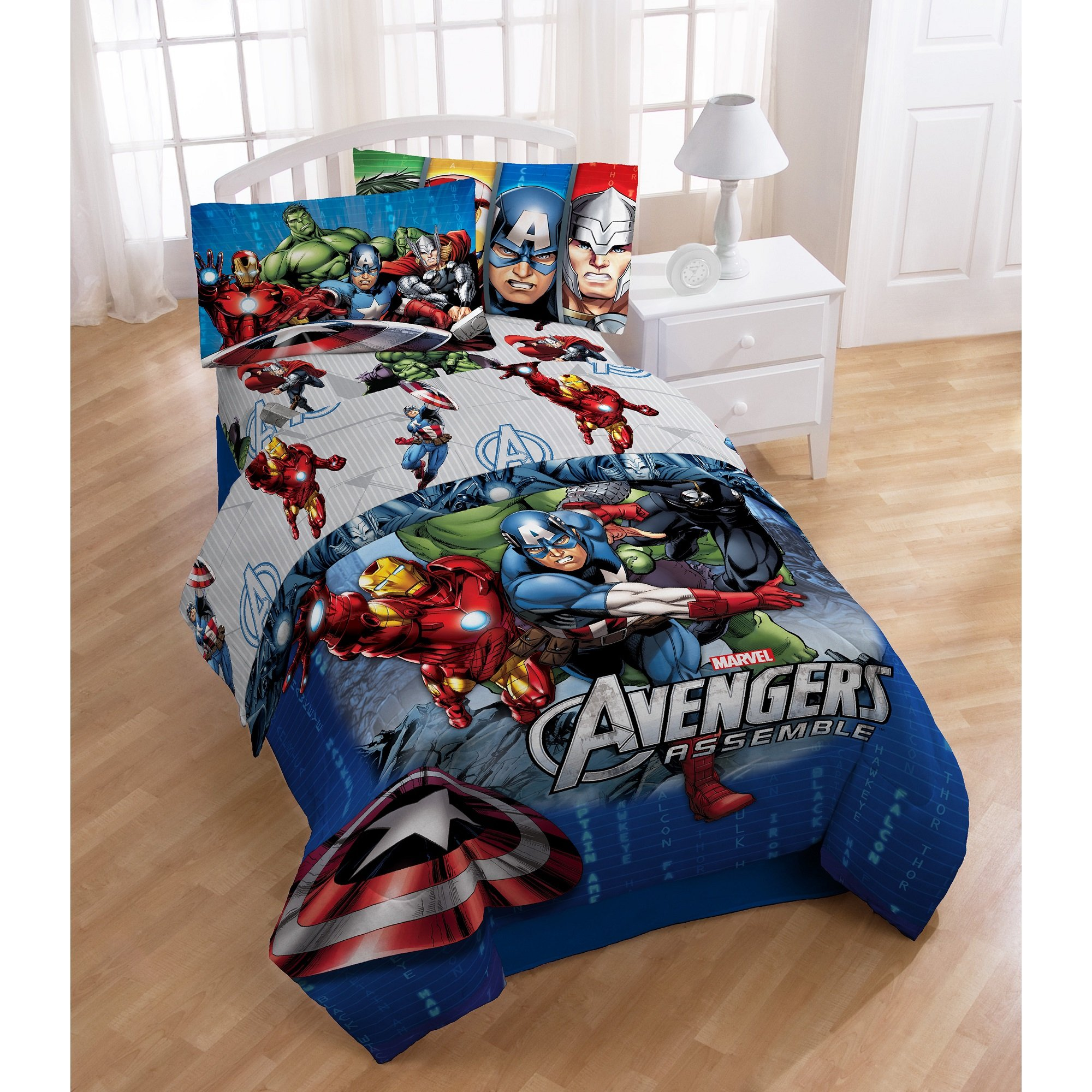4 Piece Marvel Superhero Avengers Halo Patterned Reversible Kids Sheet Set Twin Size, Featuring Ironman Hulk Captain America Thor Bedding, Superheroes Bed In A Bag Modern Stylish Design, Unisex, Blue
