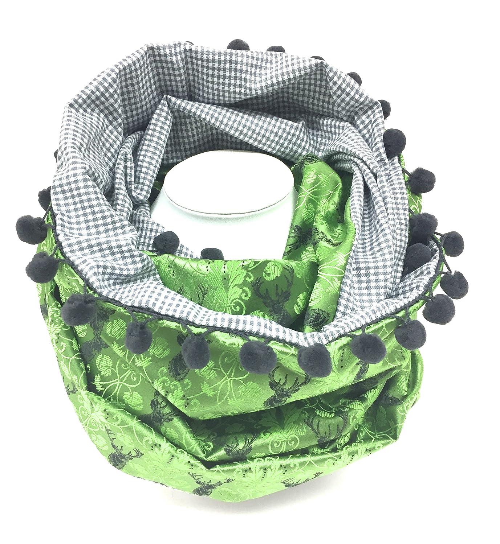 Trachtenhalstuch Dirndltuch Trachtenschal Trachtentuch Loopschal Halstuch Hirsch Loop grün grau Dirndl Moda Bavarica