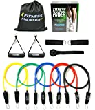 Resistance Bands - Free Carry Case - Premium Quality - For Weights Exercise, Fitness Workout - Anti Snap, Heavy Resistant Tension Tube Band Set comes with Door Anchor Attachment and Legs Ankle Straps