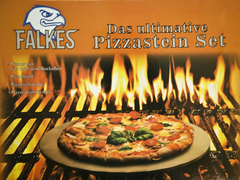 Falkes Premium Pizzastein-Set Backofen und Grill. Grill. Grill. Auch als Brotbackstein verwendbar. Mit Pizzabrett, Pizzaschneider und Pizzasteinständer. Knusprige Pizza wie beim Italiener  B01INBLIUI Pizzasteine e41838