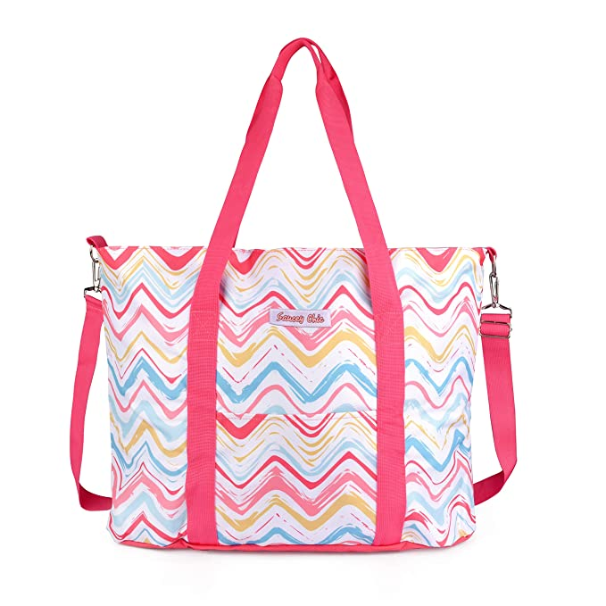 Weekender Travel Beach Tote Bag - Colorful Large Water-Resistant Shoulder Bag with Crossbody Strap (Pink) best beach bag