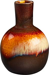 Amazon Brand – Stone & Beam Modern Ombre Stoneware Home Decor Flower Vase - 6 Inch, Dark Brown Red White