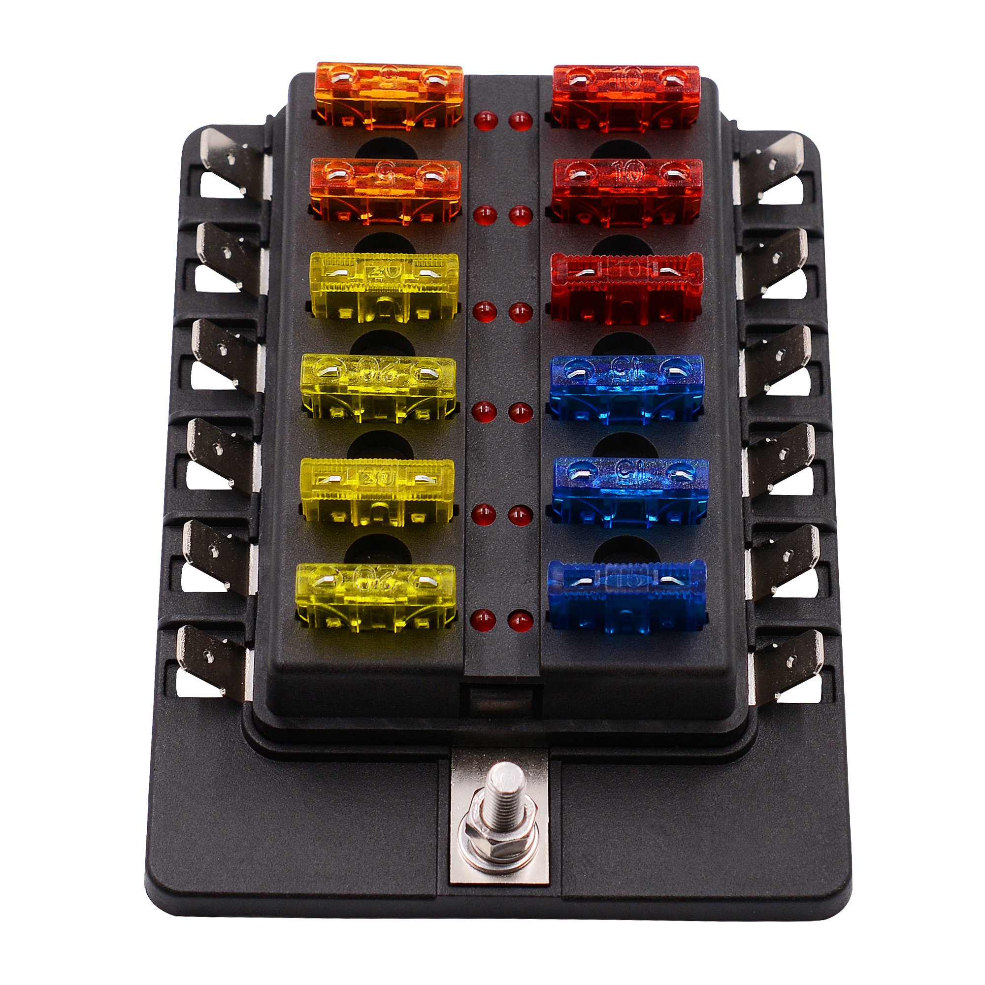 12 Ways LED Warning Blade Fuse Box Holder Fuse Block for Car, Boat, Marine Trike (Plate Copper Terminal)